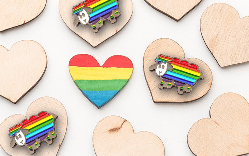 rainbow sheep pride pin