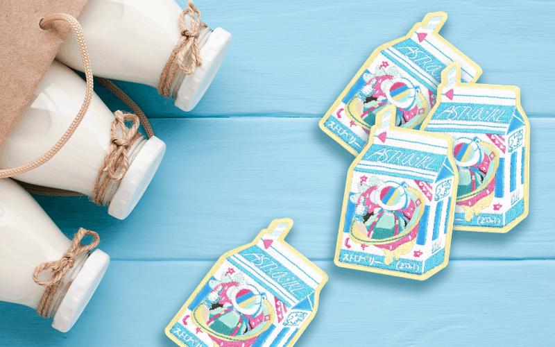 food theme custom patch milk carton