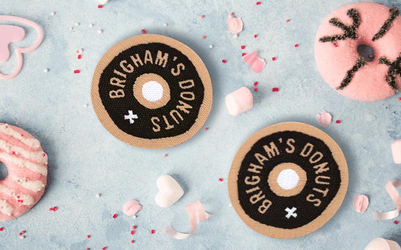 food theme custom patch brigham's donuts