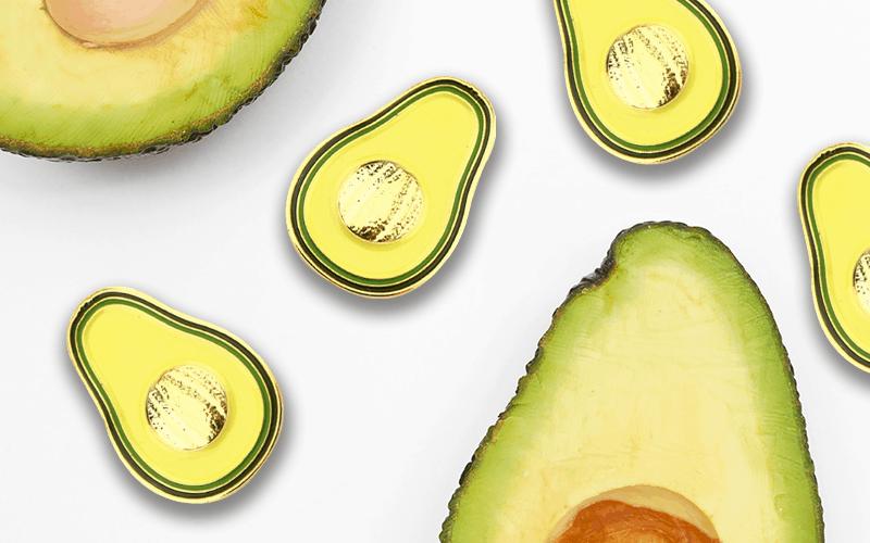 food theme custom pin avocado