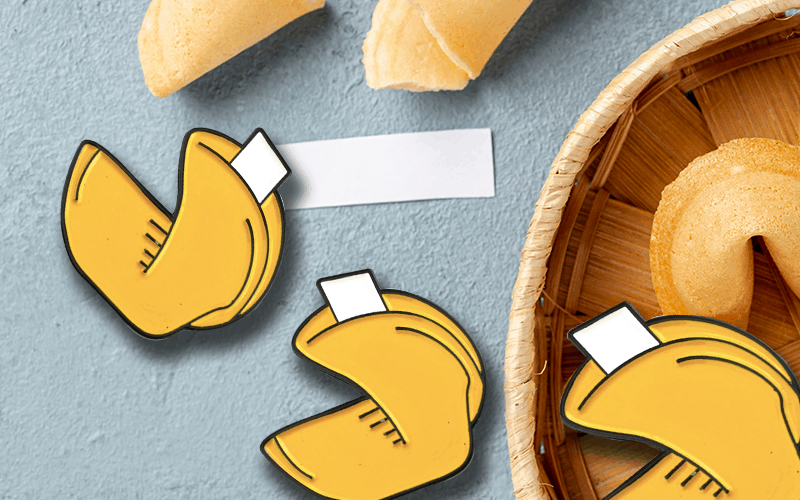 food themed custom pin fortune cookie