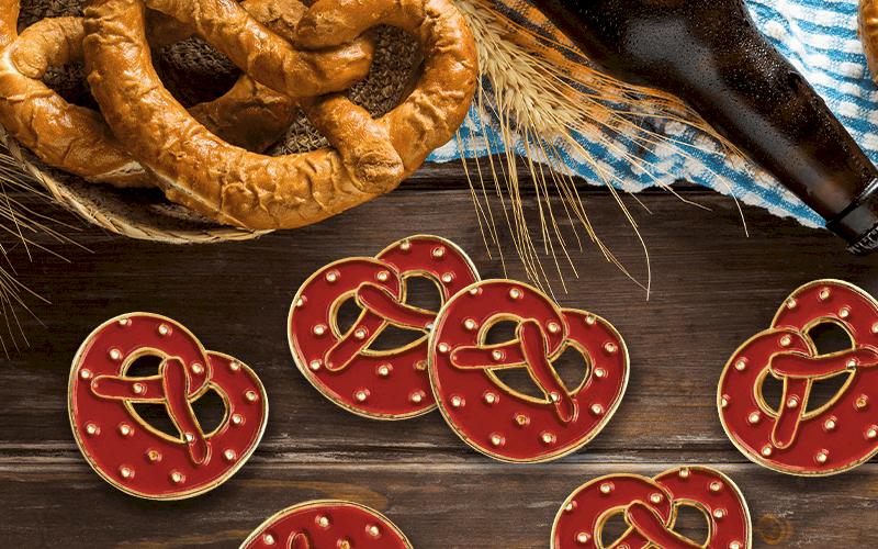 food theme custom pin knotted pretzel