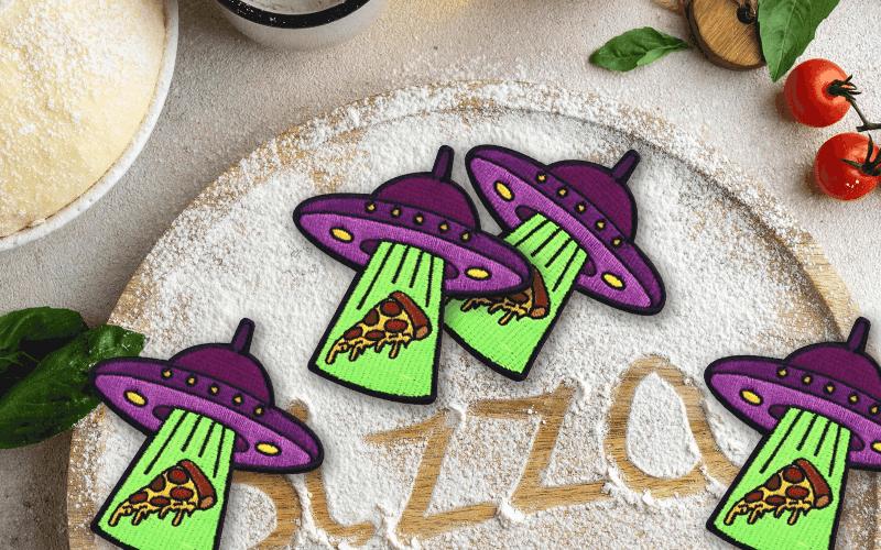 food theme custom patch pizza ufo
