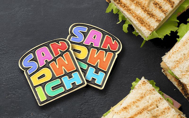food theme custom pin sandwich