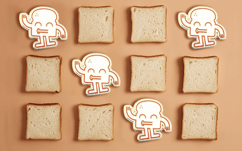 food theme custom pin happy bread