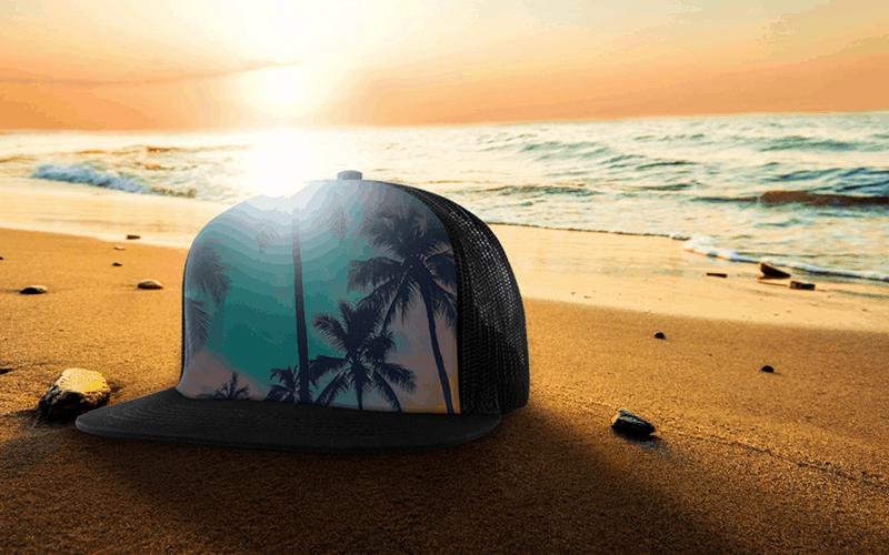 summer custom products custom trucker hat beachscape sunset